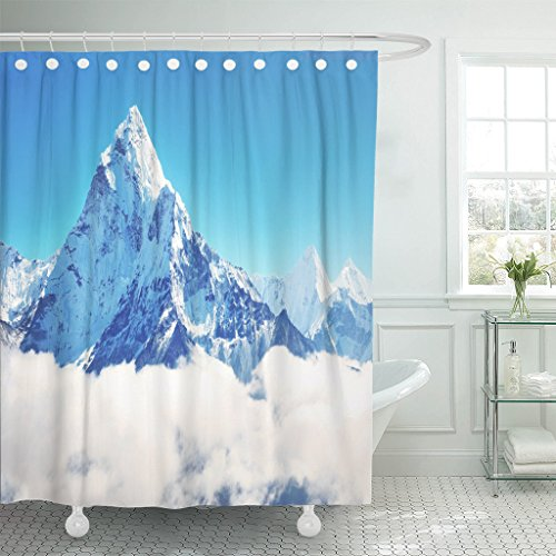 Breezat Shower Curtain Blue Snowy Mountain Peak Everest Highest in the World National Park Nepal Mount Waterproof Polyester Fabric 60 x 72 Inches Set with Hooks