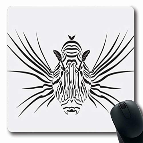 Ahawoso Mousepad Oblong 7.9x9.8 Inches Sea Lion Fish Dangerous Coral Scuba Tribal Nature Symmetrical Tattoo Abstract Design Artistic Mouse Pad Non-Slip Rubber for Notebook Laptop PC Computer