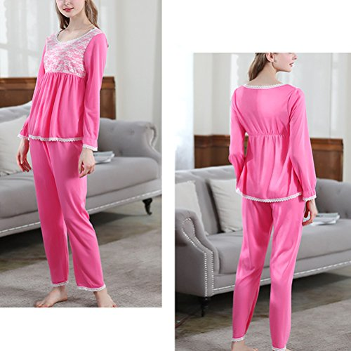 Zhhlinyuan Two Piece Set Casual Pyjamas Elegant Woman Round neck Long Sleeve Nightwear Rose Red