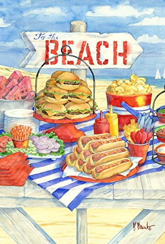 Toland Home Garden Beach Barbeque 28 x 40 Inch Decorative Summer Picnic BBQ Hotdog Burger House Flag Review