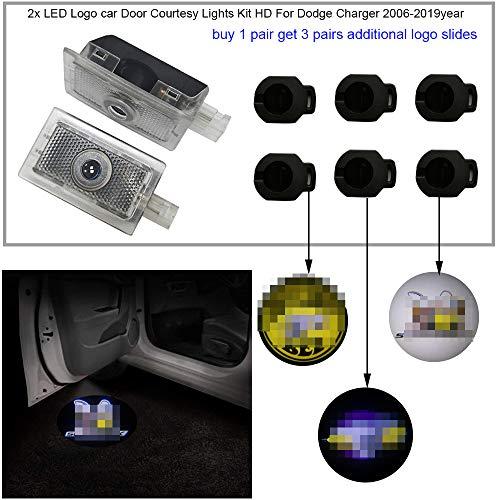 2pc Car Door Lights Ghost Shadow Projector Laser Logo light Door Courtesy Lights Kit HD For Dodge Charger Scat Pack 2006-2019,buy 1 get 3 additional logo slies