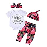 OUTGLE Newborn Baby Girl Toddler Little Sister Romper + Floral Legging + Headband + Hat Clothing Set Outfits (0-6 Months, Short Sleeve)