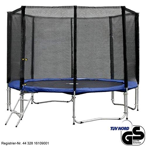 Gartentrampolin-Trampolin--305-cm--310-cm-x-230-cm-blau-Sicherheitsnetz-mit-8-Stangen-und-Leiter