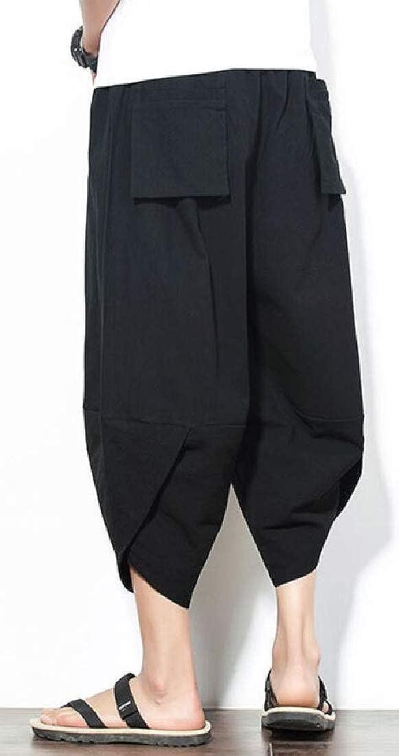ouxiuli Men Fashion Linen Capri Trousers Elastic Waist Wide Leg Cotton Harem Baggy Pants
