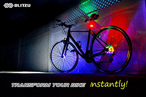 BLITZU Cyborg LED Bike Wheel Lights, Best Present Gift Ideas for kids, Men and Women. Fun Bicycle Spokes and Rims Safety Warning Light. Colorful Cycling Tire Accessories, Headlight or Tail light.