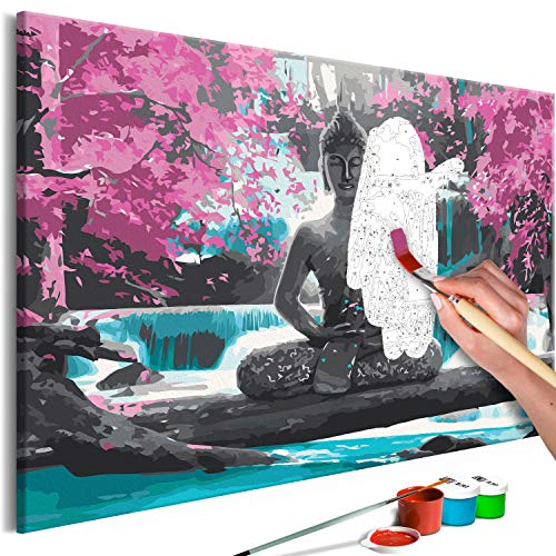 murando Pintura por Numeros Cuadros de Colorear por Numeros Kit para Pintar en Lienzo con Marco DIY Bricolaje Adultos Ninos Decoracion de Pared Regalos - Buddha Zen 60x40 cm n-A-0722-d-a