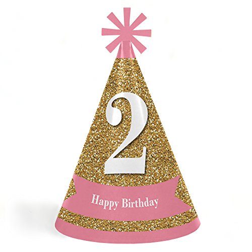 2nd Birthday Girl - Two Much Fun - Cone Happy Second Birthday Party Hats for Kids and Adults - Set of 8 (Standard Size)