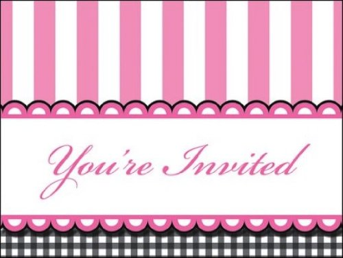 8-Count Party Invitations, Sweet Baby Feet Pink