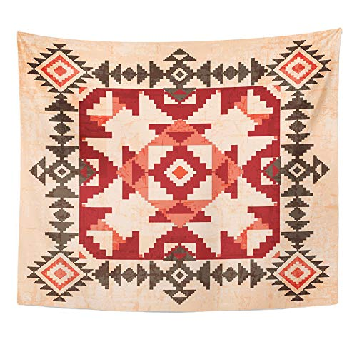 Emvency Tapestry Wall Hanging Native Absract Geometric in American Indian Style Navajo Ethnic Antique Tribal 50