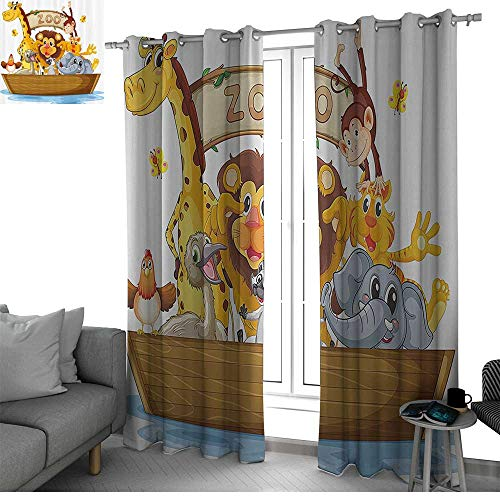 - Benmo House Kids Room Divider Curtain Screen Partitions Illustration of Boat Full of Cartoon Style Cute Animals Zoo Theme Lion Giraffe Monkey soundproof Curtain Multicolor W108 x L108 Inch