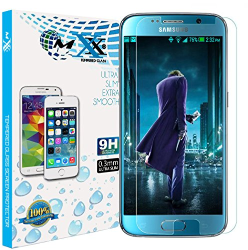 Galaxy S6 Screen Protector, MXX Premium HD Clarity Tempered Glass Screen Protector for Samsung Galaxy S6, Pack of 2 (Retail Packaging) from MXX
