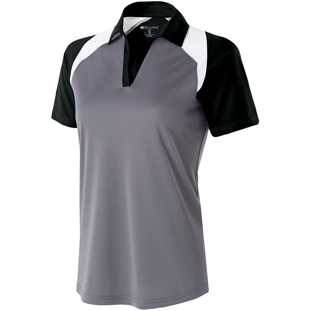 Holloway Ladies Dry Excel Shield Polo (Medium, Graphite/Black/White) by Holloway