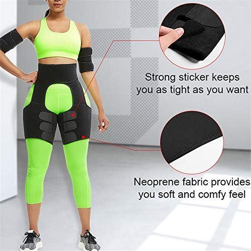 女性のためのスウェットバンドウエストトレーナー、女性の減量のためのボディシェイパー、女性のための太もものトリマー、発汗を増やす,黒,M