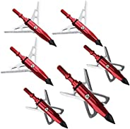 Red 6pcs Broadheads 100 Grain Hunting Arrow Heads Archery Shooting Arrowheads Tips for Compound Bow Archery