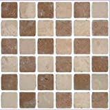 LPS Pack of 10 brown travertine stone effect Mosaic tile transfers stickers bathroom kitchen peel and stick on wall tile