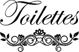 CreativeSignsnDesigns Toilettes French Bathroom Door Vinyl Decal -Black