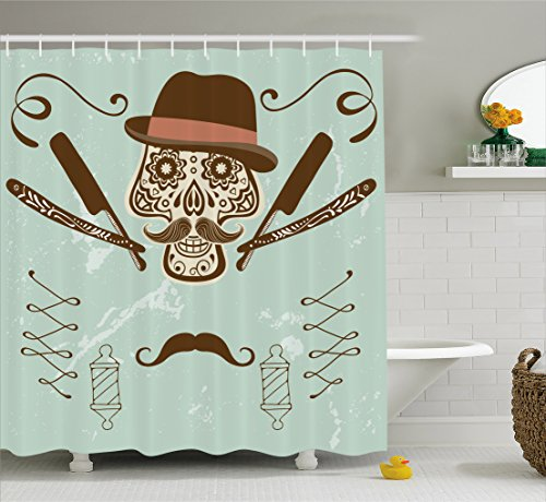 Ambesonne Hipster Shower Curtain by, Skull with Hat and Mustache Illustration Retro Style Barber Tools Print, Fabric Bathroom Decor Set with Hooks, 70 Inches, Brown and Almond - Hipster Shower Curtain