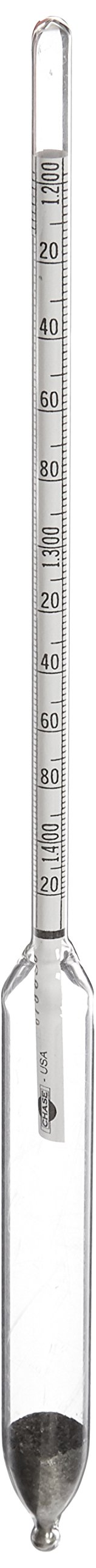 Chase Instruments 1982 Heavy Liquid Specific Gravity Hydrometer, 1.200-1.420mm Graduation Range, 0.002mm Interval