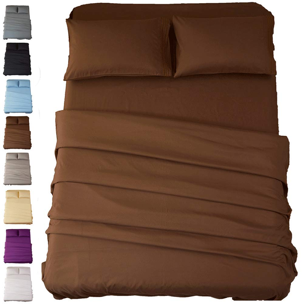 Sonoro Kate Bed Sheet Set Super Soft Microfiber 1800 Thread Count Luxury Egyptian Sheets 18-Inch Deep Pocket Wrinkle and Hypoallergenic-3 Piece(Twin Brown)