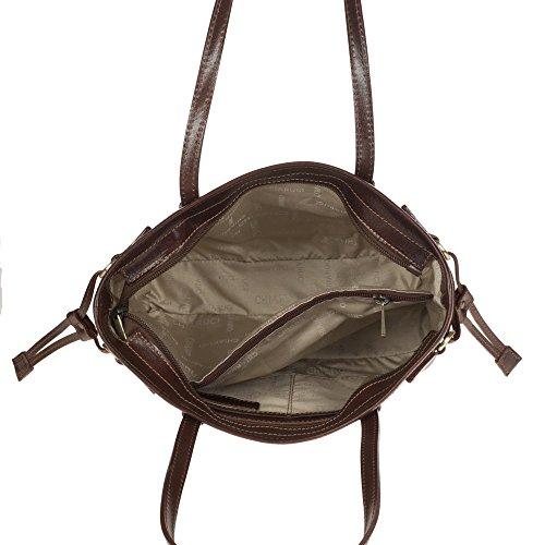Bolso Del Chiarugi Marrón marrón Comprador De Totalizador Cuero Italiano Zrwnqxp1Z