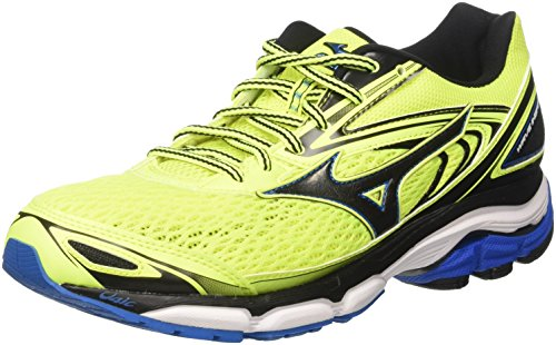 Mizuno Men Wave Inspire Running Shoes, Black, 9.5 UK Yellow (Safety Yellow/Black/Directoire Blue)