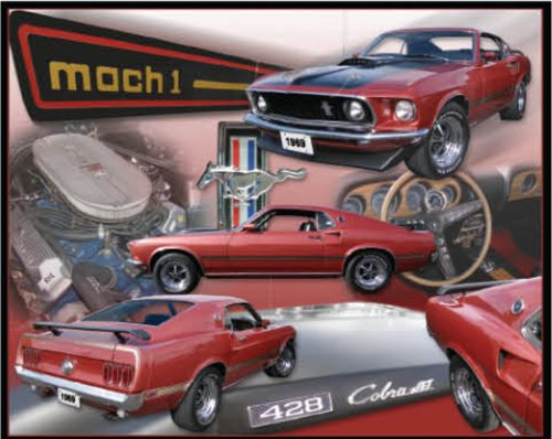 "Ford Mustang Mach 1 Cobra Collectible Metal 15"" x 12"" Decorative Tin Sign"