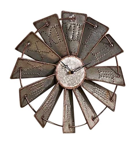 Metal Windmill Wall Clock (Rustic Metal Decor)