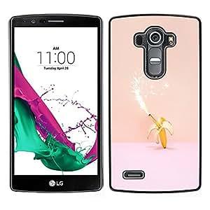 // PHONE CASE GIFT // Duro Estuche protector PC Cáscara Plástico Carcasa Funda Hard Protective Case for LG G4 / Magic Banana Birthday Pink Peach Fireworks /