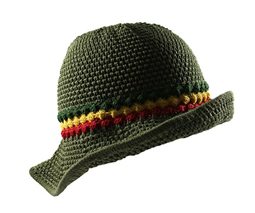 RW Knitted Crochet Fordable Hat With Flexible Wire Big Brim (Olive Green/Rasta)