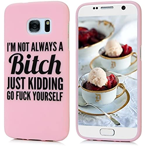 (Not for S7 Edge) Galaxy S7 Case - Badalink Shockproof Soft TPU Rubber Skin Gel Slim Fit Case Candy Color Kidding Words Series Full Edge Protective Drop Sales