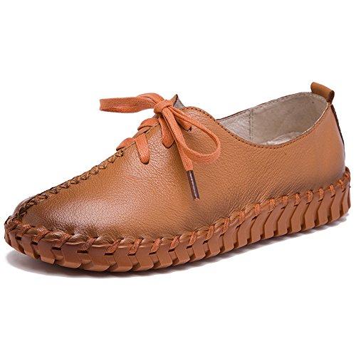 Formateurs Bronzage Lacets Shenn Maille Chaussures Femmes Caleçon Décontractée Cuir Confort 1P1qZ7Snw