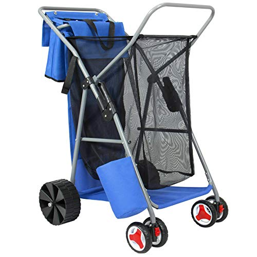 AK Energy All Terrain Rear Wheels Folding Utility Beach Cart Camping Storage Picnic Bag Blue Color 110Lbs Capacity