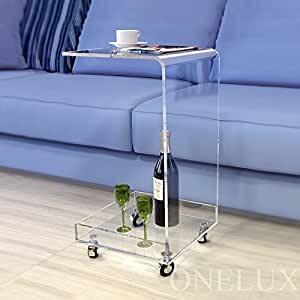 C shaped waterfall acrylic occasional side for Sofa table on wheels