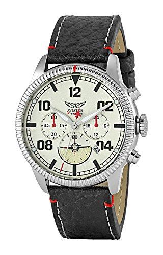 Flight Chronograph Black Dial (Aviator AVW2072G304 F-Series Men's Vintage Flight Pilot Chronograph Quartz Watch Black Leather Strap Wristwatch)