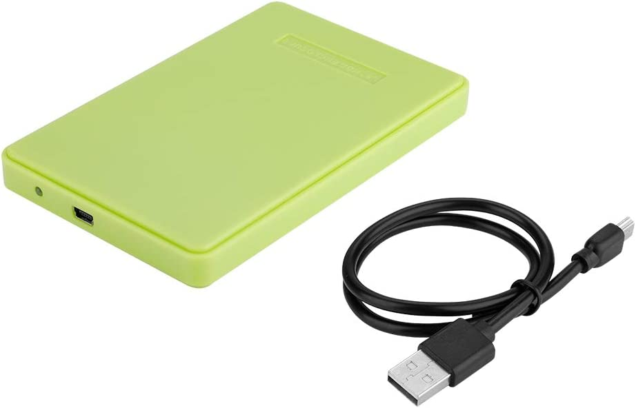 Green Wendry External Hard Drive Case 2.5inch SATA to USB 2.0 Tool-Free External Hard Drive Enclosure for 2.5inch SATA HDD and SSD