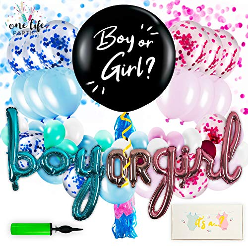 One Life Parties Baby Gender Reveal Party Supplies | (97 Pieces) Decorations Kit with Confetti Rose Gold Girl Baby, Blue Boy Balloons & Big Black Balloon | Decoration Idea for Pregnancy Announcement]()