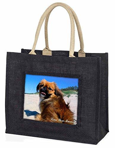 Advanta pekinses Dog Love You Mum Große Einkaufstasche/Weihnachtsgeschenk, Jute, schwarz, 42x 34,5x 2cm