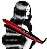 professional Titanium Flat Iron Digital Hair Straightener by Isa Professional 1 Inch 2 Year Warranty