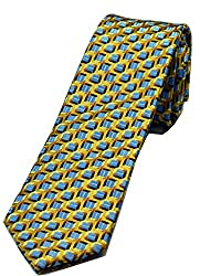Zarrano Skinny Tie 100% Silk Woven Gold/Blue Geometric Tie