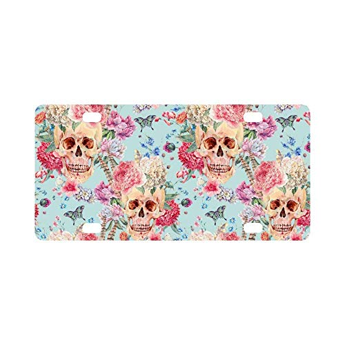 (Teisyouhu Watercolor Boho Skull and Pink Peony Wildflowers Butterfly Car License Plate Cover Framed Tag Cover Durable Aluminum License Plate Frame for Women)