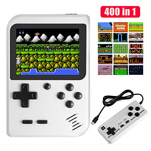 JAMSWALL Handheld Game Boy Console, 400 Classical FC Games 2.8-Inch Screen 800mAh Rechargeable Battery Portable Retro Video Game Console Support for Connecting TV and Two Players(White) from JAMSWALL