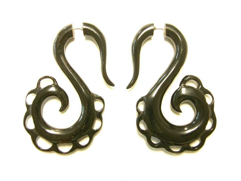 Scalloped Edge Drop Organic Horn Earrings Faux Gauges For Normal Piercing