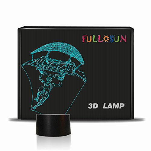 FULLOSUN 3D Lamp Parachuting Game Lamp LED Night Light Touch Table Desk Light 7 Colors Optical Illusion Lights Valentine's Day Present -