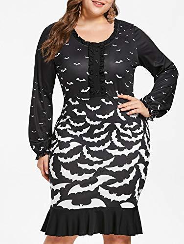 KCatsy Halloween Plus Size Bat Print Flounced Dress Black