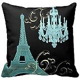 Decors Teal Chandelier Vintage Paris Decor Pillow Case, 16 x 16 Inch