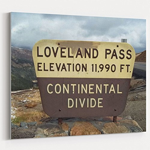 Loveland Rose - Westlake Art - Sign Divide - 16x20 Canvas Print Wall Art - Canvas Stretched Gallery Wrap Modern Picture Photography Artwork - Ready to Hang 16x20 Inch (CBA0-E501C)