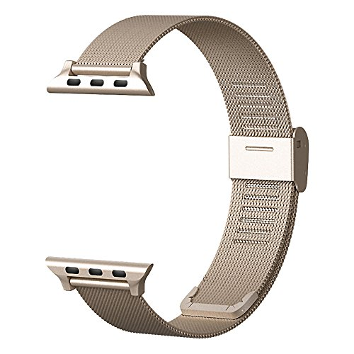CNBEYOUNG Milanese Loop 2.0 Version Stainless Steel Bracelet Strap Replacement Band for Apple Watch Series 1 Series 2 Apple iWatch (CHAMPAGNE GOLD-38MM)