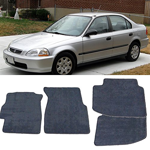 Floor Mat Fits 1996-2000 Honda Civic | Front & Rear Gray 4PC Nylon Car Floor Carpets Carpet liner by IKON MOTORSPORTS |  1997 1998 (1997 Honda Civic Floor Mats)