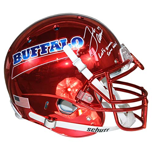 Inscription Helmet - Josh Allen Autographed Buffalo Bills Red Chrome Schutt Authentic Full Size Helmet w/Inscription JSA COA
