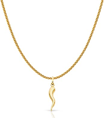 14K Yellow Gold Crucifix Charm Pendant with 1.1mm Wheat Chain Necklace